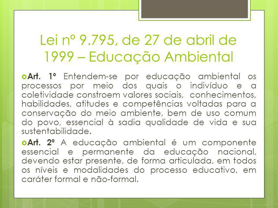 Lei nº 9.795, de 27 de abril de 1999 – Educação Ambiental