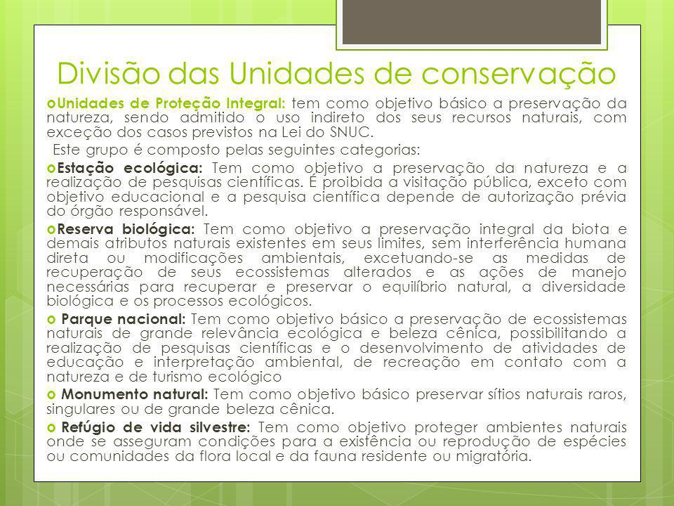 Divisão das Unidades de conservação