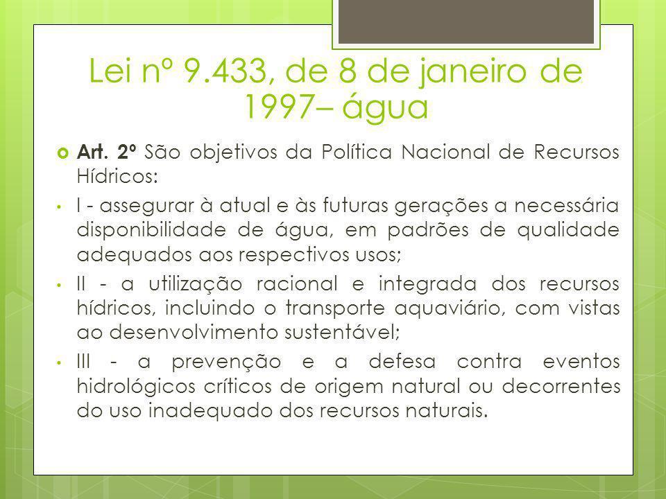 Lei nº 9.433, de 8 de janeiro de 1997– água