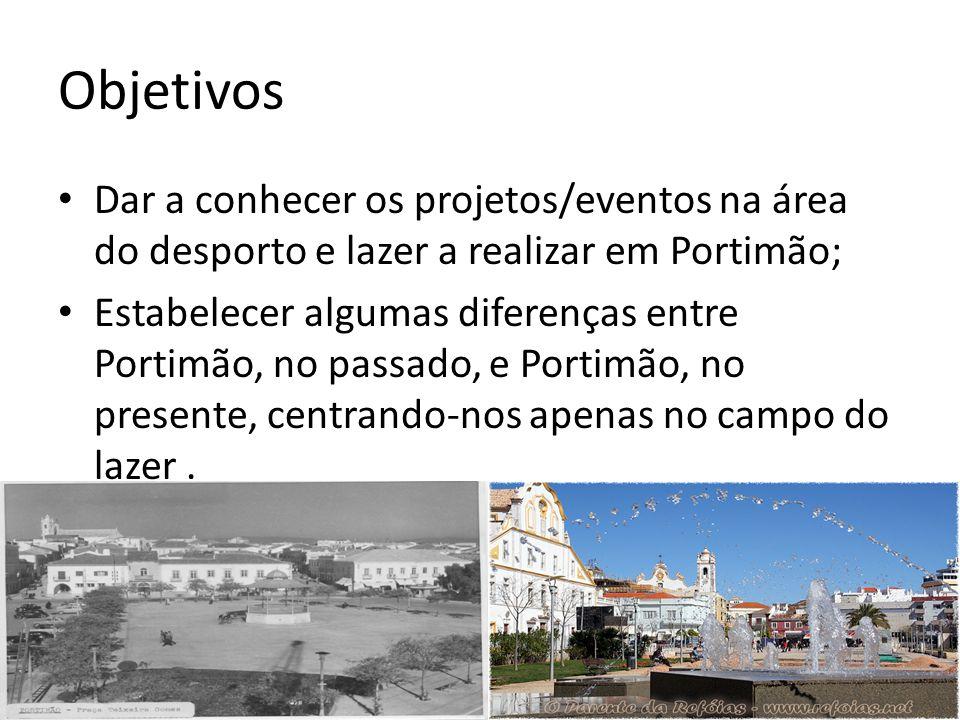 Objetivos Dar a conhecer os projetos/eventos na área do desporto e lazer a realizar em Portimão;