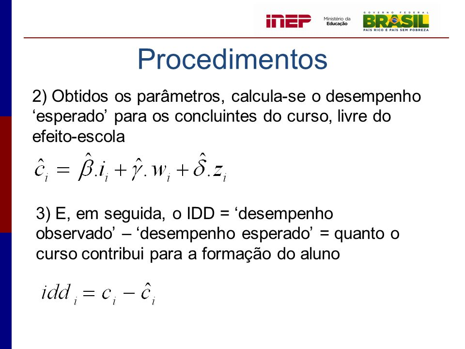 Procedimentos 2) Obtidos os parâmetros, calcula-se o desempenho 'esperado' para os concluintes do curso, livre do efeito-escola.