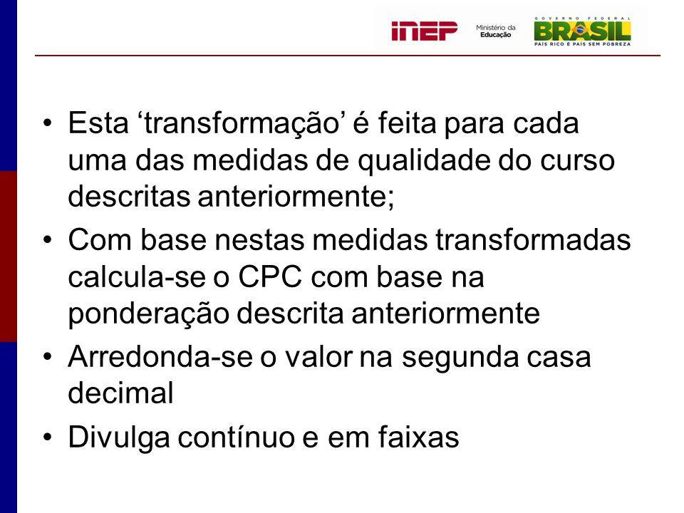 Esta 'transformação' é feita para cada uma das medidas de qualidade do curso descritas anteriormente;