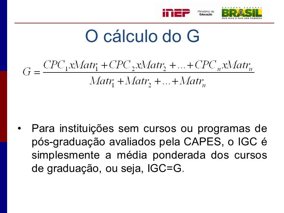 O cálculo do G
