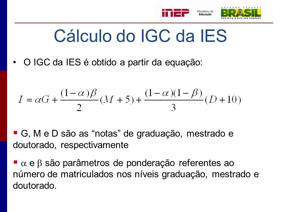 Cálculo do IGC da IES O IGC da IES é obtido a partir da equação: