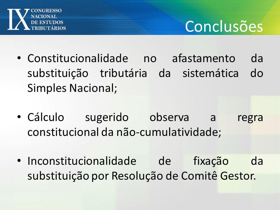 Conclusões Constitucionalidade no afastamento da substituição tributária da sistemática do Simples Nacional;