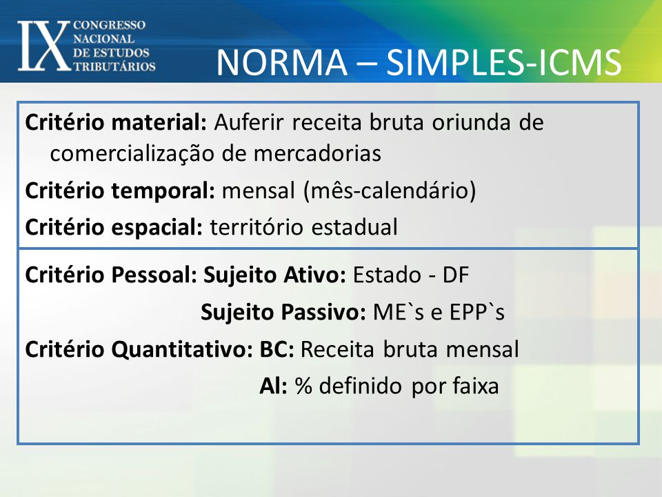 NORMA – SIMPLES-ICMS