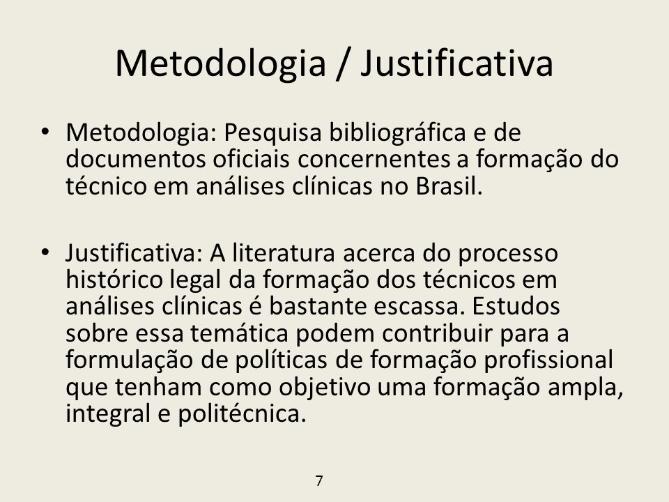 Metodologia / Justificativa