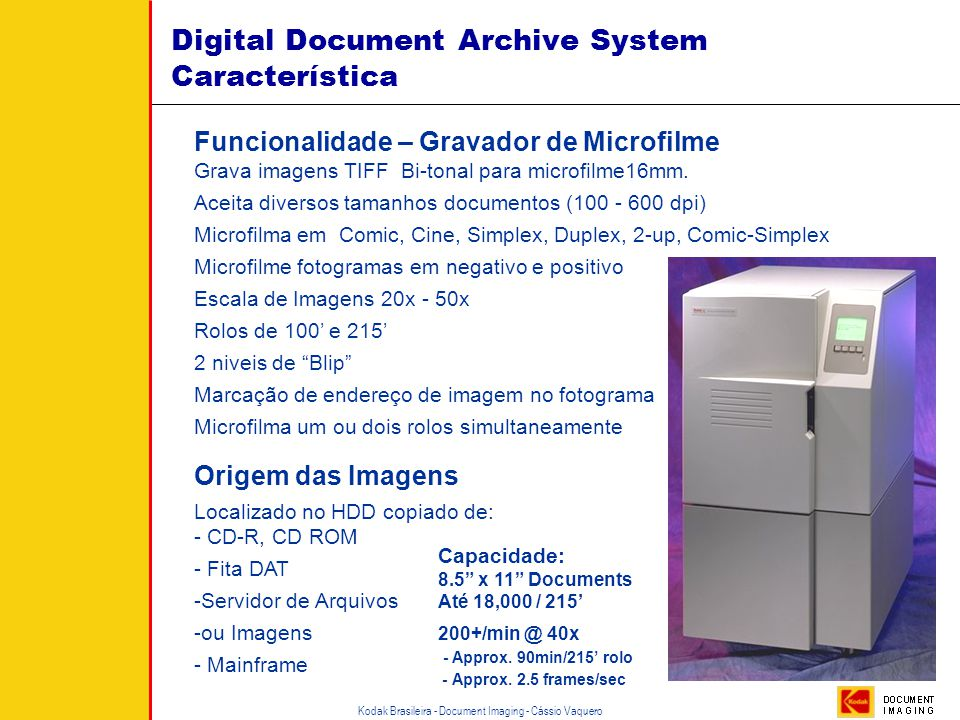 Digital Document Archive System Característica
