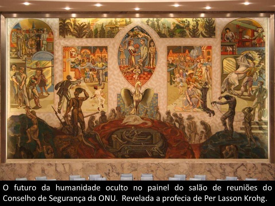 O futuro da humanidade oculto no painel do salão de reuniões do Conselho de Segurança da ONU.