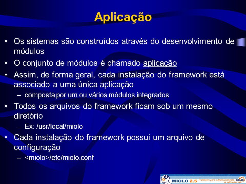 Aplicação Os sistemas são construídos através do desenvolvimento de módulos. O conjunto de módulos é chamado aplicação.