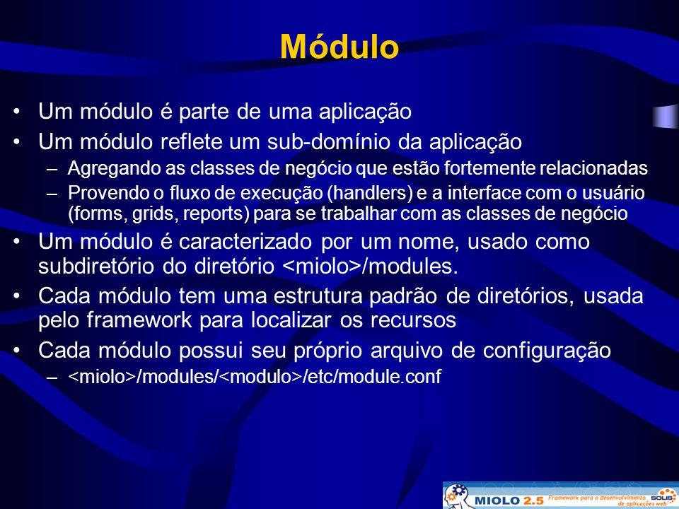 Módulo Um módulo é parte de uma aplicação