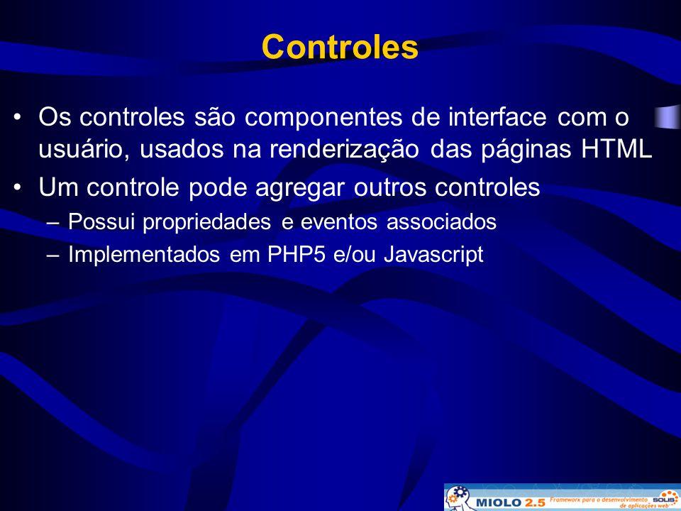 Controles Os controles são componentes de interface com o usuário, usados na renderização das páginas HTML.