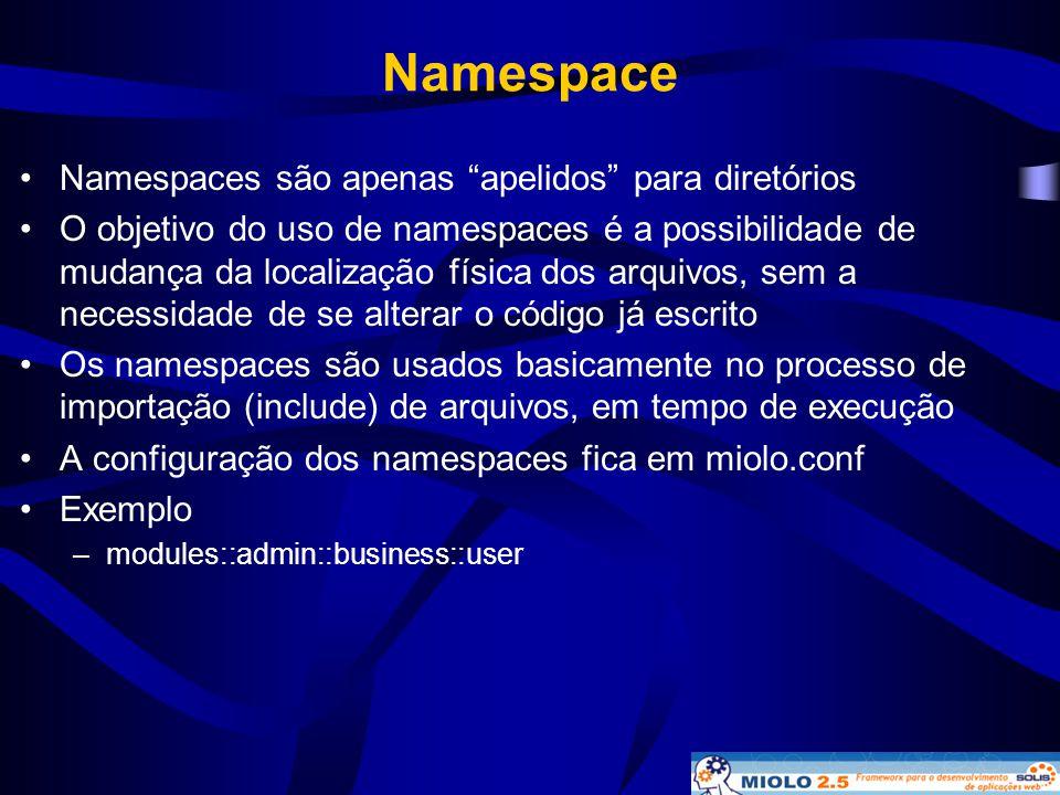 Namespace Namespaces são apenas apelidos para diretórios