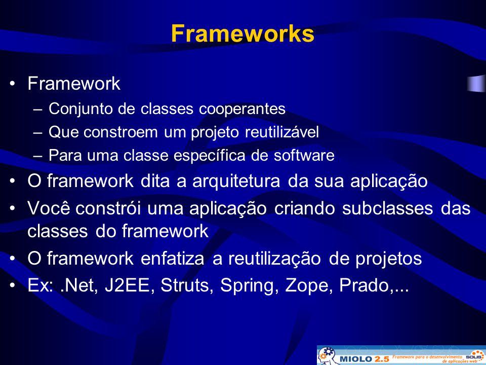 Frameworks Framework O framework dita a arquitetura da sua aplicação