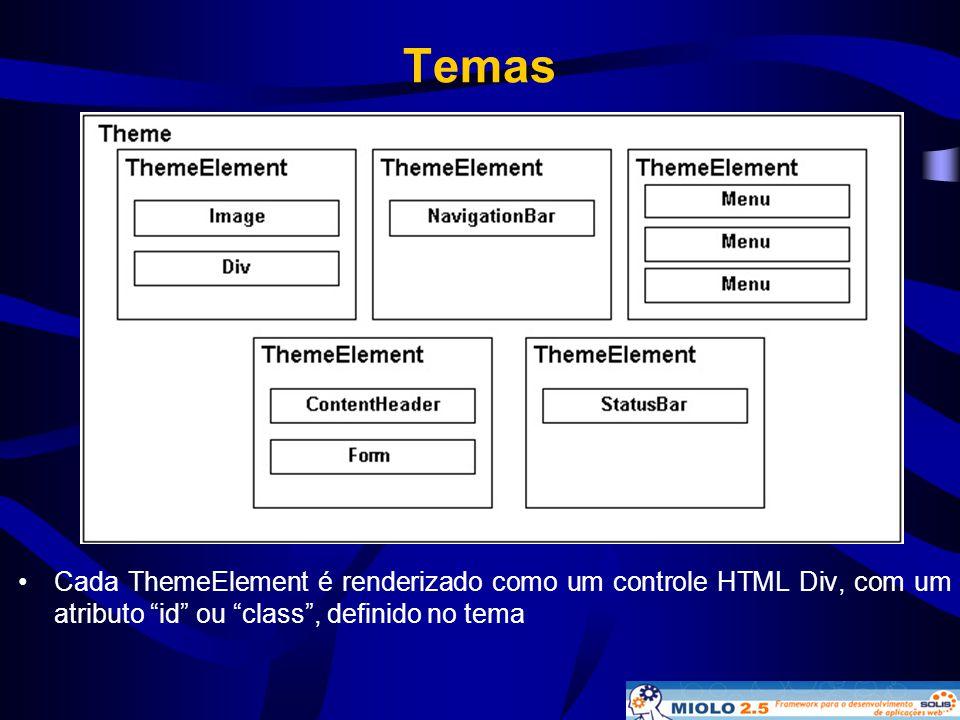 Temas Cada ThemeElement é renderizado como um controle HTML Div, com um atributo id ou class , definido no tema.