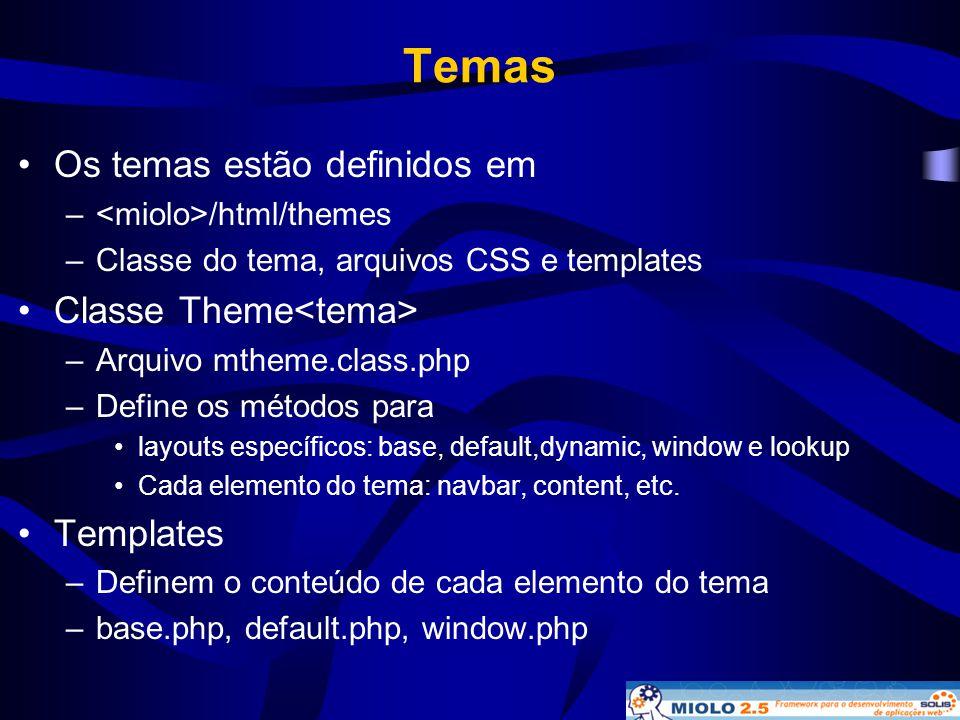 Temas Os temas estão definidos em Classe Theme<tema> Templates