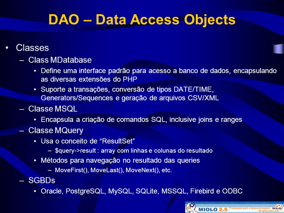 DAO – Data Access Objects