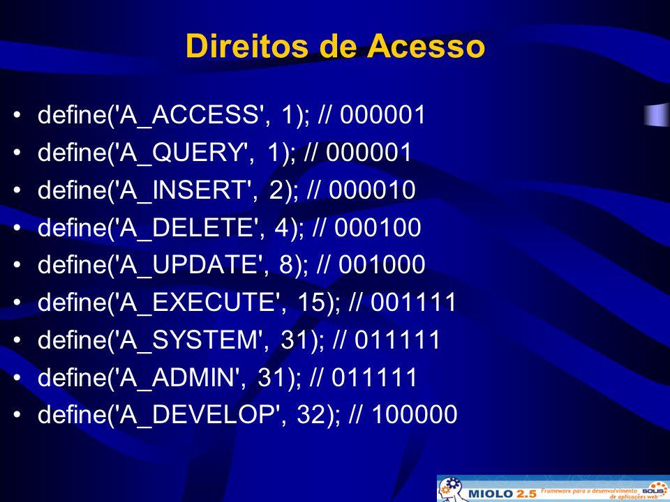 Direitos de Acesso define( A_ACCESS , 1); // 000001