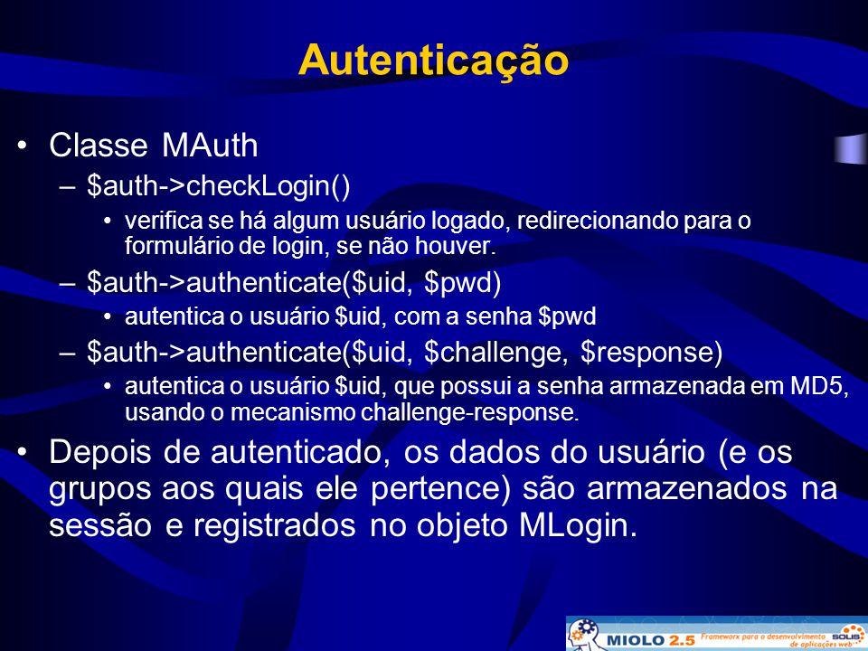 Autenticação Classe MAuth