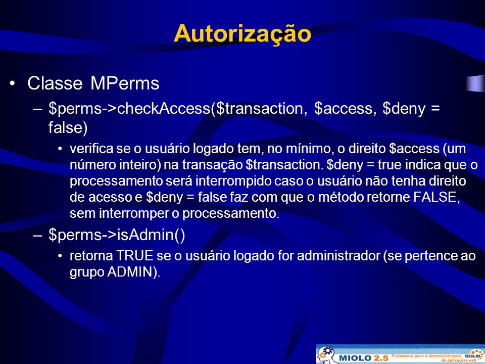 Autorização Classe MPerms