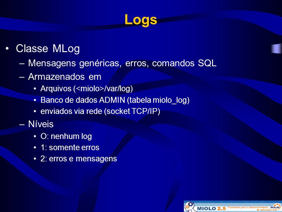 Logs Classe MLog Mensagens genéricas, erros, comandos SQL