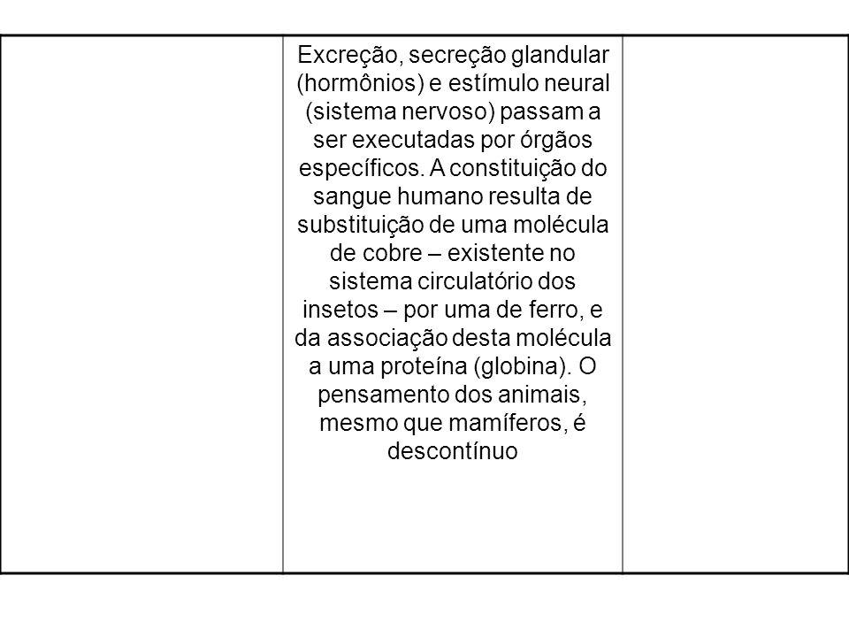 Excreção, secreção glandular (hormônios) e estímulo neural (sistema nervoso) passam a ser executadas por órgãos específicos.
