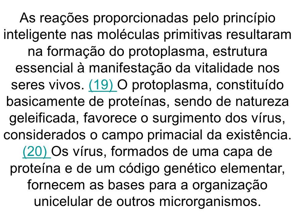 As reações proporcionadas pelo princípio inteligente nas moléculas primitivas resultaram na formação do protoplasma, estrutura essencial à manifestação da vitalidade nos seres vivos.