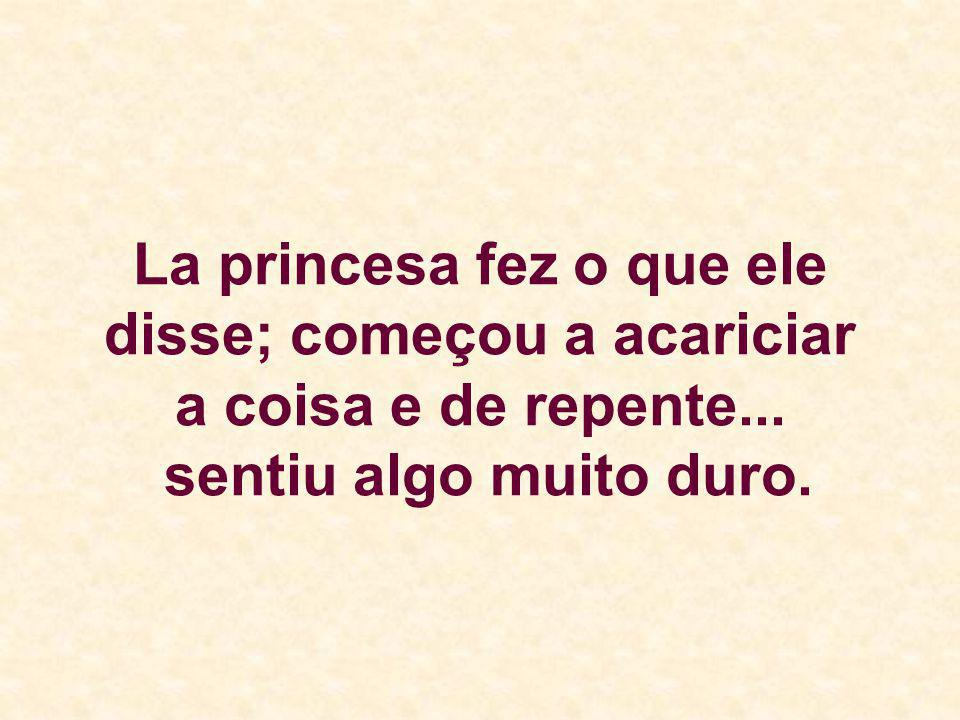 La princesa fez o que ele disse; começou a acariciar a coisa e de repente... sentiu algo muito duro.
