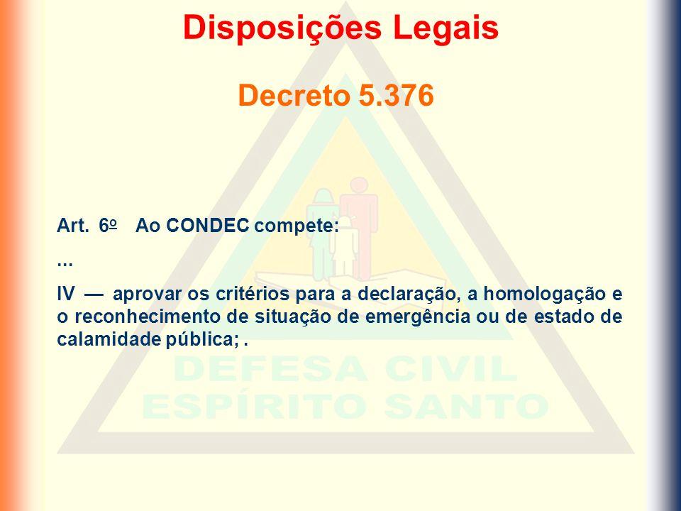 Disposições Legais Decreto 5.376 Art. 6o Ao CONDEC compete: ...