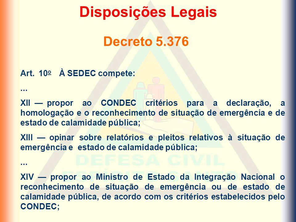 Disposições Legais Decreto 5.376 Art. 10o À SEDEC compete: ...