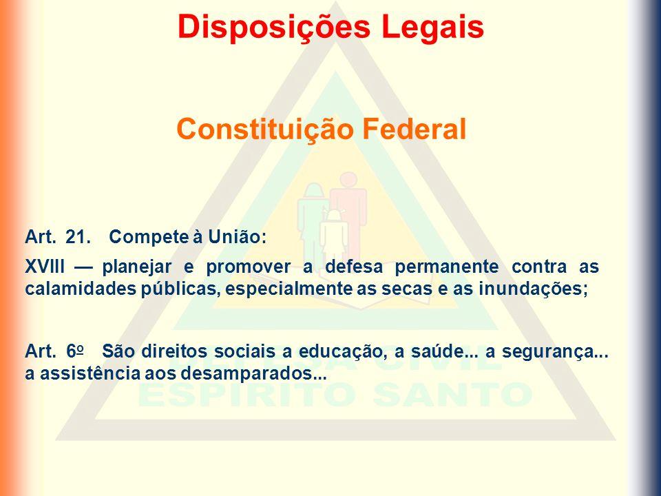 Disposições Legais Constituição Federal Art. 21. Compete à União:
