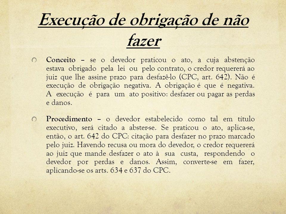 Execução de obrigação de não fazer