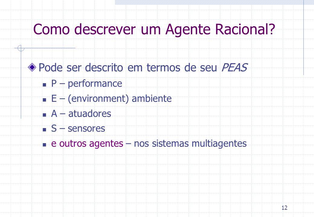 Como descrever um Agente Racional