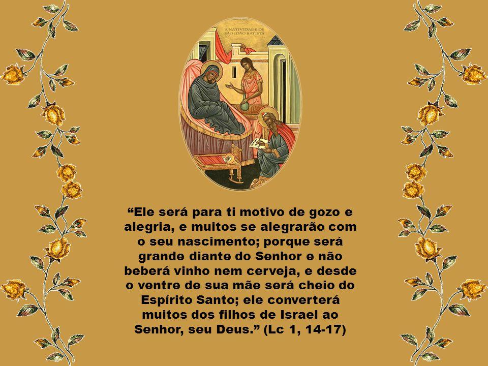 Ele será para ti motivo de gozo e alegria, e muitos se alegrarão com o seu nascimento; porque será grande diante do Senhor e não beberá vinho nem cerveja, e desde o ventre de sua mãe será cheio do Espírito Santo; ele converterá muitos dos filhos de Israel ao Senhor, seu Deus. (Lc 1, 14-17)