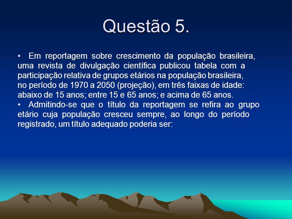Questão 5. Em reportagem sobre crescimento da população brasileira,