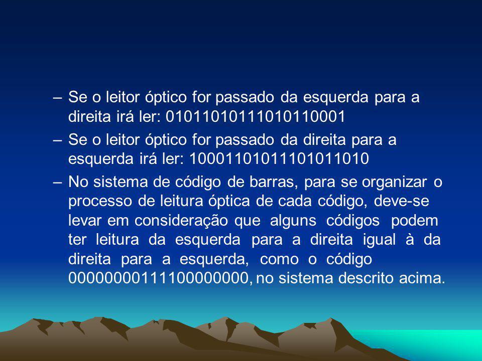 Se o leitor óptico for passado da esquerda para a direita irá ler: 01011010111010110001