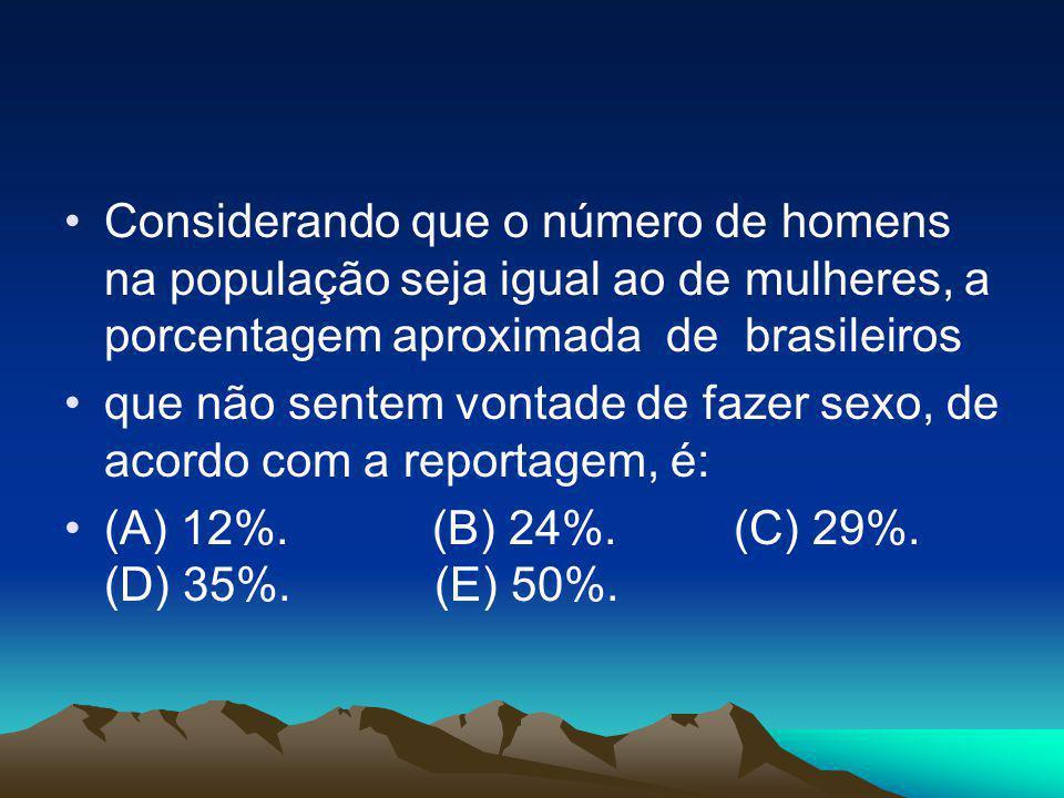 Considerando que o número de homens na população seja igual ao de mulheres, a porcentagem aproximada de brasileiros