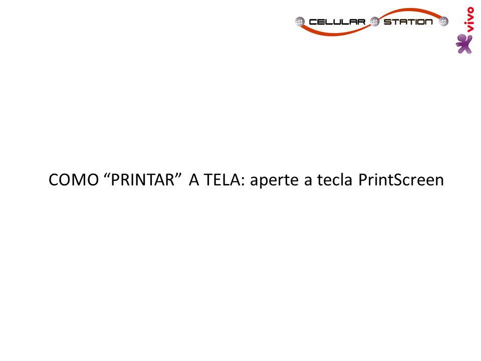 COMO PRINTAR A TELA: aperte a tecla PrintScreen