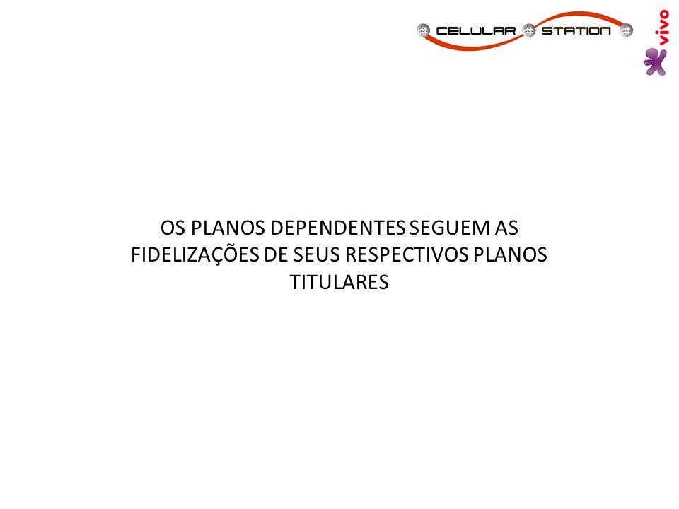 OS PLANOS DEPENDENTES SEGUEM AS FIDELIZAÇÕES DE SEUS RESPECTIVOS PLANOS TITULARES