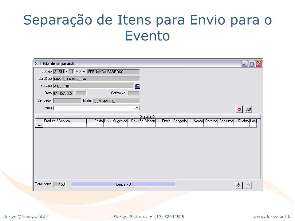 Separação de Itens para Envio para o Evento