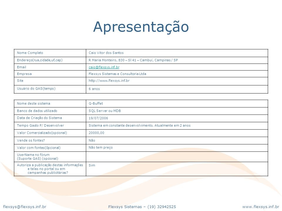 Apresentação Nome Completo Caio Vitor dos Santos