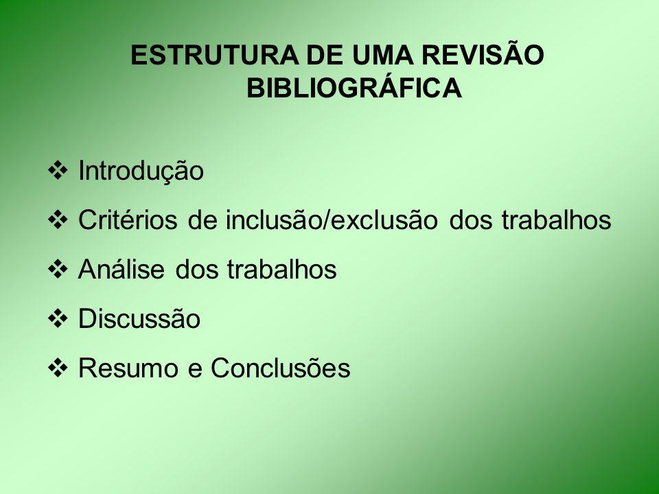 ESTRUTURA DE UMA REVISÃO BIBLIOGRÁFICA