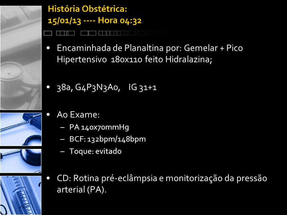 CD: Rotina pré-eclâmpsia e monitorização da pressão arterial (PA).