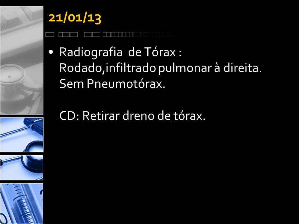 Radiografia de Tórax : Rodado,infiltrado pulmonar à direita