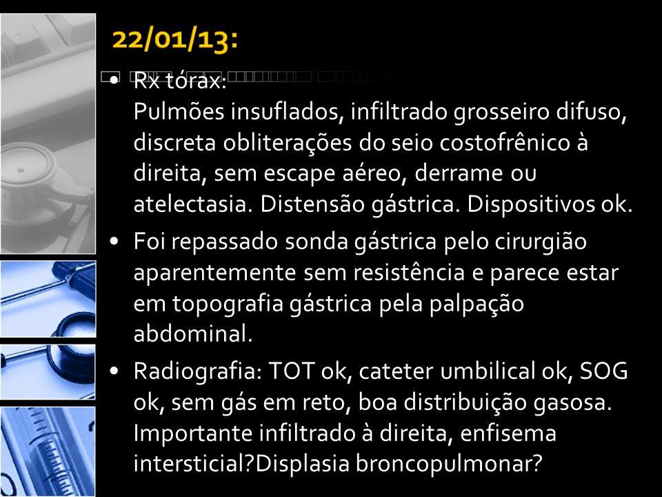 Rx tórax: Pulmões insuflados, infiltrado grosseiro difuso, discreta obliterações do seio costofrênico à direita, sem escape aéreo, derrame ou atelectasia. Distensão gástrica. Dispositivos ok.