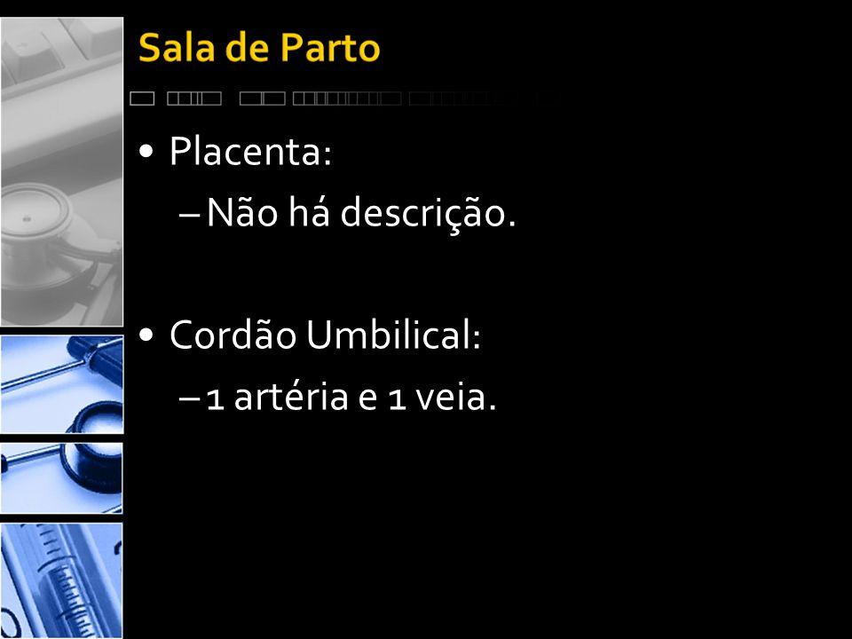 Placenta: Não há descrição. Cordão Umbilical: 1 artéria e 1 veia.