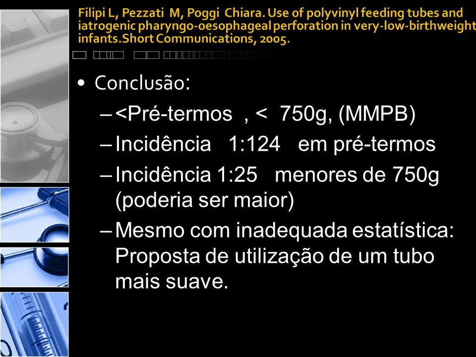 Conclusão: <Pré-termos , < 750g, (MMPB) Incidência 1:124 em pré-termos. Incidência 1:25 menores de 750g (poderia ser maior)