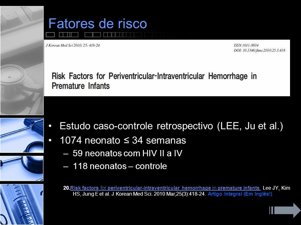 Fatores de risco Estudo caso-controle retrospectivo (LEE, Ju et al.)
