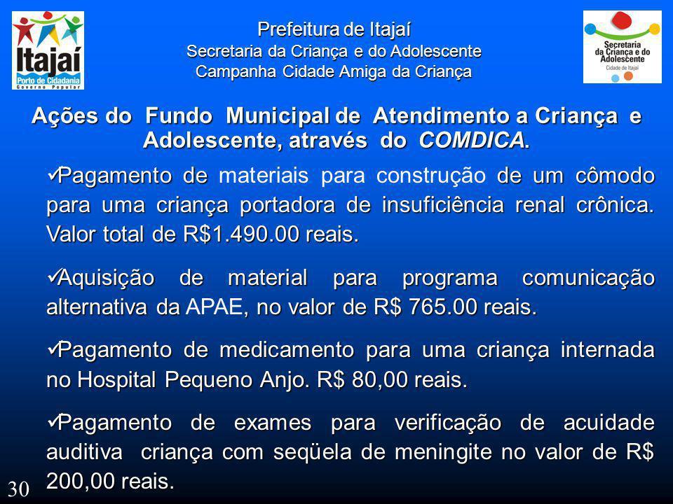 Prefeitura de Itajaí Secretaria da Criança e do Adolescente. Campanha Cidade Amiga da Criança.