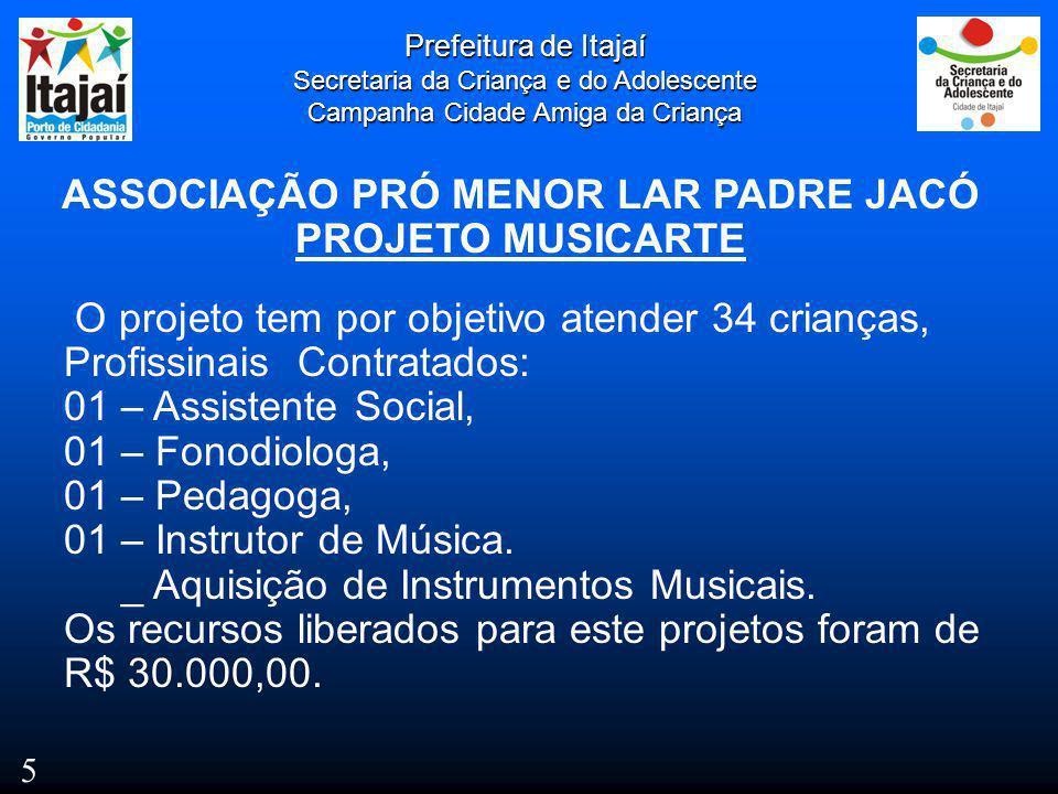 ASSOCIAÇÃO PRÓ MENOR LAR PADRE JACÓ PROJETO MUSICARTE